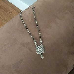 Avon jet and Crystal colored necklace